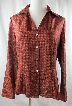 Ann Taylor Silk Blouse Shirt Top Size 10 Petite 100 Silk Dark Orange Brown | eBay