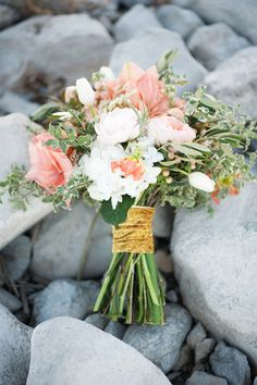 Gold ribbon wrapped bridal bouquet | Kristina Curtis Photography | See more on http://burnettsboards.com/2014/01/mother-daughter-inspiration-shoot/