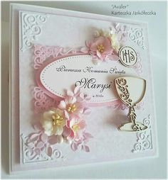 Pierwsza komunia św First Communion Cards, Holy Communion Invitations, First Holy Communion, Baby Christening Gifts, Baptism Gifts, Pop Up Cards, Cute Cards, Engagement Cards, Embossed Cards