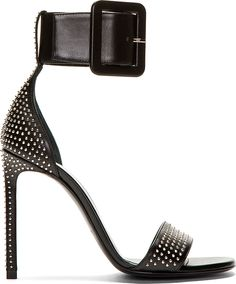 Saint Laurent - Black Leather Studded Jane Sandals | oh. My. Gosh. So so beautiful. They are sexy and edgy which I love. These shoes are perfect for me