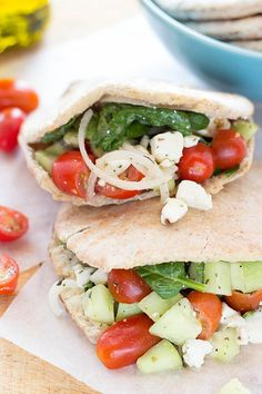 Lovely Greek Pitas, ready in 10 minutes, high in vitamin A, C and iron #healthy #vegetarian   hurrythefoodup.com