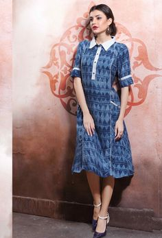 #Readymade #Light #Blue #Cotton #Rayon #Printed #Kurti #nikvik  #usa #designer #australia #canada #freeshipping #ladiestop