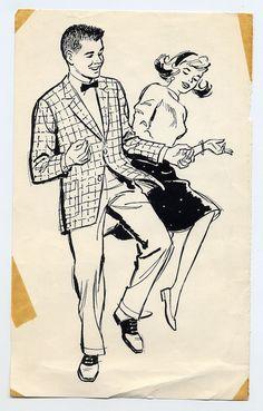 DancingTeens / From the Historic Clip Art Collection by Bart & Co. Retro Cartoons, Vintage Cartoon, Vintage Comics, Vintage Dance, Vintage Art, Arte Punk, Owl Clip Art, Architecture Art Design, Retro Illustration