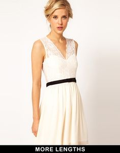 Image 1 ofASOS Scalloped Lace Skater Dress One in white and one in red, please!