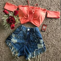 Cute Lazy Outfits, Cute Swag Outfits, Crop Top Outfits, Pretty Outfits, Beautiful Outfits, Stylish Outfits, Diy Summer Clothes, Summer Outfits For Teens, Girls Fashion Clothes
