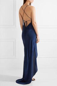Michelle Mason - Open-back Asymmetric Silk-satin Gown - Navy - US10