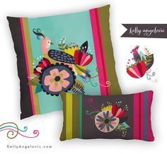 by Kelly Angelovic #kindredArtCollective #Pillow #spring #design #Illustration #Boho #bird #floral