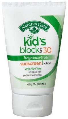 Nature's Gate Kid's Block Sunscreen Lotion, Fragrance-Free, SPF 30, 4-Ounce Tubes (Pack of 3) by Nature's Gate. $25.41. Cruelty Free. Certified organic ingredients. Extra gentle and water resistant. Pediatrician tested. Helps prevent sunburn. Provides high protection against sunburn. Higher SPF gives more sunburn protection. Retains SPF after 80 minutes of activity in water. Our kid friendly formula is gentle enough