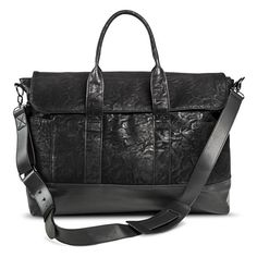 Women's Limited Edition Distressed Suede Weekender Handbag - Black