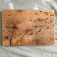 Wood-Burned Dandelion Ornament/Sign by bisonboutique on Etsy