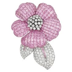 18k White Gold, Invisibly-Set Pink Sapphire And Diamond Flower Clip/Brooch   -   Doyle New York