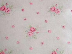 Yuwa Pink Roses with Periwinkle on Light Pink Cottage Chic -Very Vintage Look #Yuwa