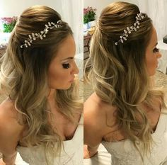 Penteado com coroa Dress Hairstyles, Crown Hairstyles, Party Hairstyles, Bride Hairstyles, Wedding Hair And Makeup, Bridal Hair, Hair Makeup, Hair Styler, Pinterest Hair