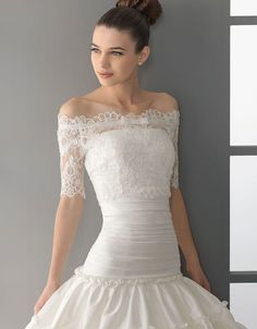 Glamorous half sleeve ball gown floor-length wedding dress. I wouldn't wear the dress but I'm re-pinning just because the designer did a great job of combining a few different styles into one and pulling it off!
