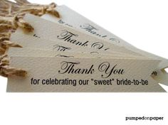wedding favor tags - cream pennant flag  - set of 20 - bridal shower favor tags - thank you tags. $17.00, via Etsy.