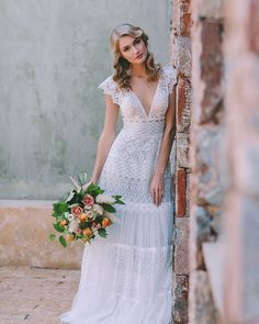 Don't miss romantic editorial featuring DIONI, our off white boho wedding dress made from Chantilly French lace and decorated with. Perfect Wedding Dress, Boho Wedding Dress, Bridal Gowns, Wedding Gowns, French Lace, Dress For You, Dress Making, Off White, Most Beautiful
