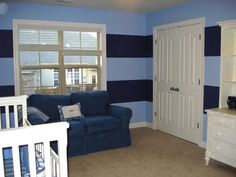 Dark and Light Blue Horizontal Stripes on Nursery Wall   www.mekdesigns.com