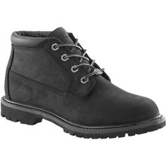Timberland Nellie Chukka Double Waterproof Boots , Black (205 CAD) ❤ liked on Polyvore featuring shoes, boots, black, flat boots, bootie boots, waterproof boots, block-heel ankle boots and short black boots