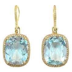 Blue Topaz and Diamond Earrings by Jona | From a unique collection of vintage dangle earrings at https://www.1stdibs.com/jewelry/earrings/dangle-earrings/