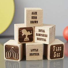 Our Personalised Circus Building Blocks are the perfect addition to any newborn's nursery. A fun personalised new baby gift or christening gift.Add star or heart building blocks and a traditional engraved letter building block to complete the collection. Heart and star blocks are non-personalised and will be sent as displayed in the photograph. To make a collection for a personalised Christening gift add details such as the church name, hospital name and christening date. We package all of…