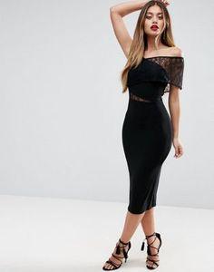ASOS - Vestito midi Bardot attillato con pizzo e spalle scoperte Inserto In  Pizzo 2e9060173a6