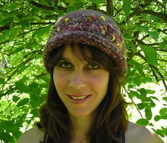 Handknit Felted Hat With Narrow Rolled Brim And Novelty Yarn Band