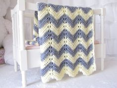 Grey & Yellow Chevron - Crochet baby blanket - creamy soft grey and yellow chevron striped baby blanket.. $39.00, via Etsy.