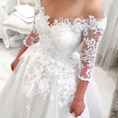 Heavy embellishment 3d floral long sleeves ball gown wedding dress #wedding #weddingdress #weddinggown