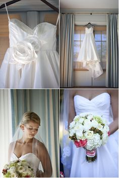 Love the dress if it had straps. Pretty bouquet. // Preppy wedding - navy and Nantucket red