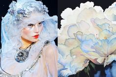 Match #164 Magdalena Frackowiak at John Galliano Fall 2009|Dew Drops on Peony(detail) by Hanne Lore Koehler More matches here
