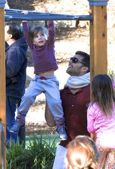 Ricky Martin and helps son Valentino with the monkey bars. Valentino and his twin brother Matteo are 3! Ricky has talked about adding to his family, and on Mother's Day tweeted about the two amazing women who helped him build his family -- presumably his sons' egg donor and gestational surrogate.