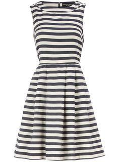 Blue stripe high neck dress - love with boat neck