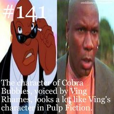 The character of Cobra Bubbles, voiced by Ving Rhames, looks a lot like Ving's character in Pulp Fiction. What does Marcellus Wallace look l. Disney Princess Facts, Disney Fun Facts, Disney Jokes, Funny Disney Memes, Disney Nerd, Cute Disney, Disney Stuff, Disney Disney, Disneyland Secrets
