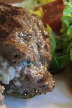 Goat Cheese & Herb Stuffed Lamb Burgers #Recipe