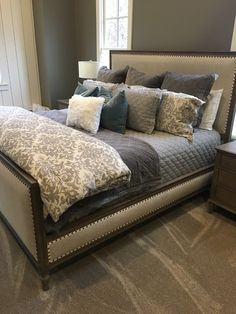 Pottery Barn Jacquard Line Medallion Duvet Cover. Love the quilted diamond underneath. Bedding Master Bedroom, Farmhouse Master Bedroom, Master Bedroom Design, Guest Bedrooms, Master Bedrooms, Master Suite, Gray Bedding, Neutral Bedding, Bedroom Rustic