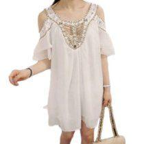 Daditong Womens Off Shoulder Chiffon Dress with Handmade Beaded Crystal