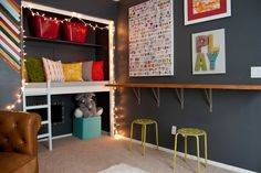 Bold Colorful Playroom with Reading Loft