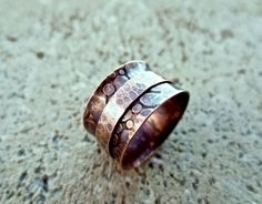 Hammered Copper Spinner Ring Copper Jewelry Rustic Ring Mixed Metal Jewelry. $44.00, via Etsy.