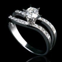 Holyland-1.2 C SI REAL DIAMOND PROMISE RING ACCENTED 14K W GOLD