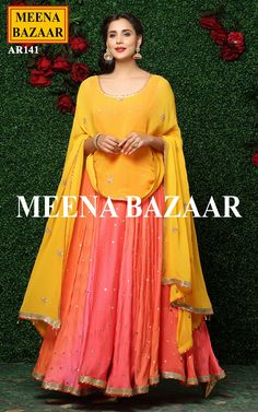Orange Anarkali Suit with pre stitched fabric @ MeenaBazaar