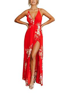 8259122e03 New FFLMYUHULIU Women s Strap Floral Print Lace Up Backless Deep V Neck  Sexy Split Beach Maxi Dress online. Find great deals on Marycrafts Dresses  from top ...