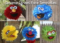 This listing is for FIVE Sesame Street face templates (Elmo, Grouch, Grover, Big Bird and Cookie Monster) that you can cut out and attach to a pompom that you purchase or create one on your own with tissue paper. PLEASE NOTE: This listing is for the face feature cutout only, the pompom is not included. Pompom fluffy decorations can be purchased from your local party supply store like the listing below:http://www.partycity.com/product/royal+blue+fluffy+decorations+16in+3ct.do...