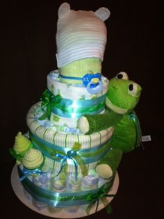 Blue and Green Frog Diaper Cake 4Tier by DiaperCakesByKristin, $70.00
