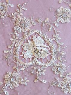 Intricately Beaded CAITLIN Ivory Lace With HEART by allysonjames