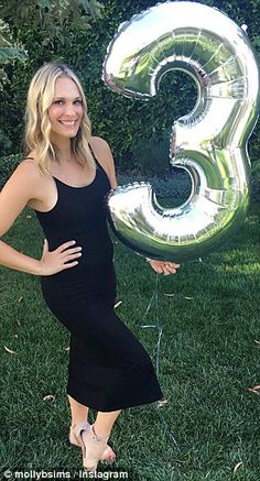 Anxious: Actress and model Molly Sims, 43, pictured recently at three months…