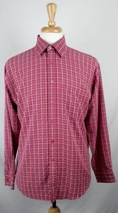 BUGATCHI UOMO LONG SLEEVE BUTTON FRONT PLAID RED SHIRT MEN'S SIZE MEDIUM #BUGATCHIUOMO #ButtonFront