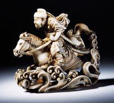 Netsuke depicting Raiden, the god of wind, thunder and lightning, Japan, 19th century, carved ivory.