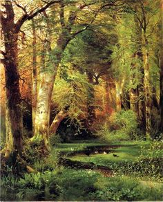 Thomas Moran - Forest Scene. Any and everything woodsy is a favorite. I grew up in the woods on the creek banks. Love the woods.