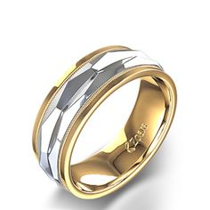 Men's Honeycomb Wedding Ring in Two Tone Gold