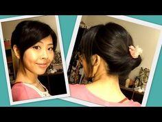 Elegant Updo in 1 Minute (Works on both long & short hair) Long To Short Hair, Short Hair Updo, Messy Hairstyles, Short Hair Styles, Romantic Updo, Elegant Updo, Shoulder Length Hair, Hair Dos, Hair Beauty